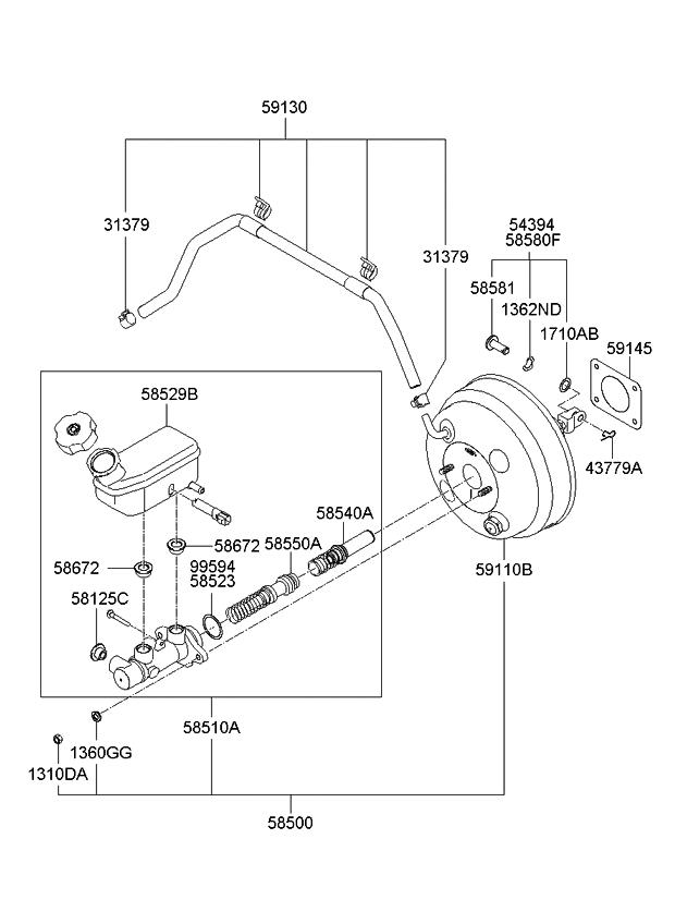 kia vacuum diagram 585104d500 - genuine kia cylinder assembly-brake 1999 jeep wrangler vacuum diagram