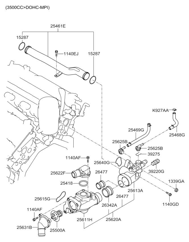 254683cab0 genuine kia hose assembly water b BMW 528I Cooling System Diagram 2012 kia sedona coolant pipe hose