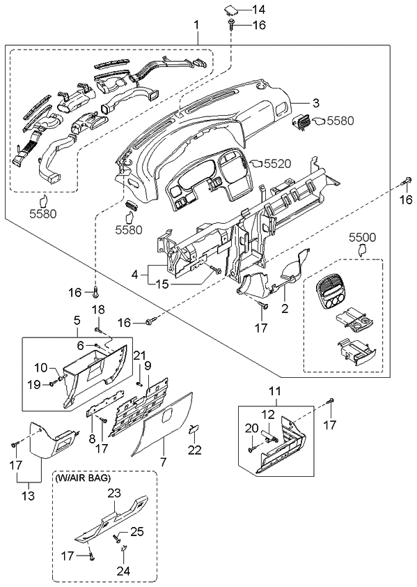 2001 kia sportage dashboard related parts kia parts now. Black Bedroom Furniture Sets. Home Design Ideas