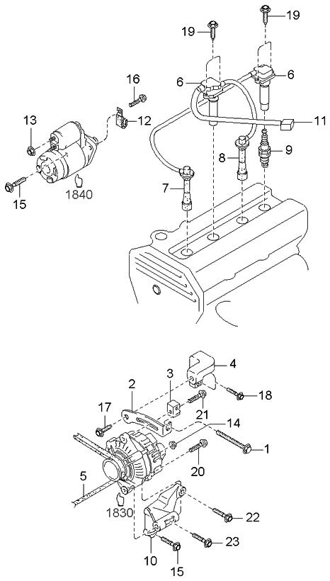 2001 Kia Sportage Engine Electrical System