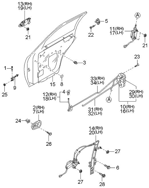 2002 Kia Sportage Rear Door Mechanisms
