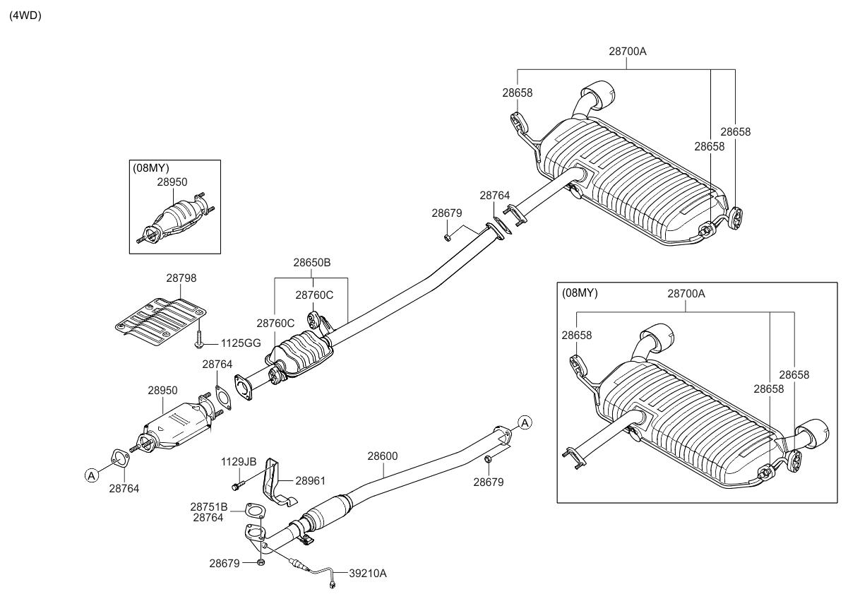 2009 kia sportage muffler exhaust pipe kia parts now rh kiapartsnow com 2008 kia sportage engine diagram