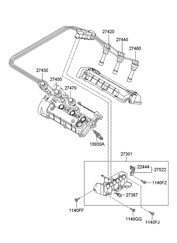 2744037310 - genuine kia cable assembly-spark plug 98 kia sportage engine diagram 2006 kia sportage engine diagram