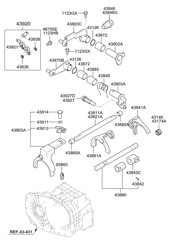4380239030 Genuine Kia Arm Shift