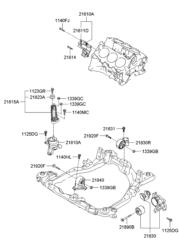 218152E100 - Genuine Kia BRACKET-ENGINE MOUNTING SUPPORT