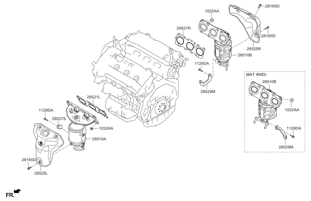 [FPER_4992]  285253C750 - Genuine Kia PROTECTOR-HEAT RH | 2013 Kia Sorento Engine Diagram |  | Genuine Kia Parts