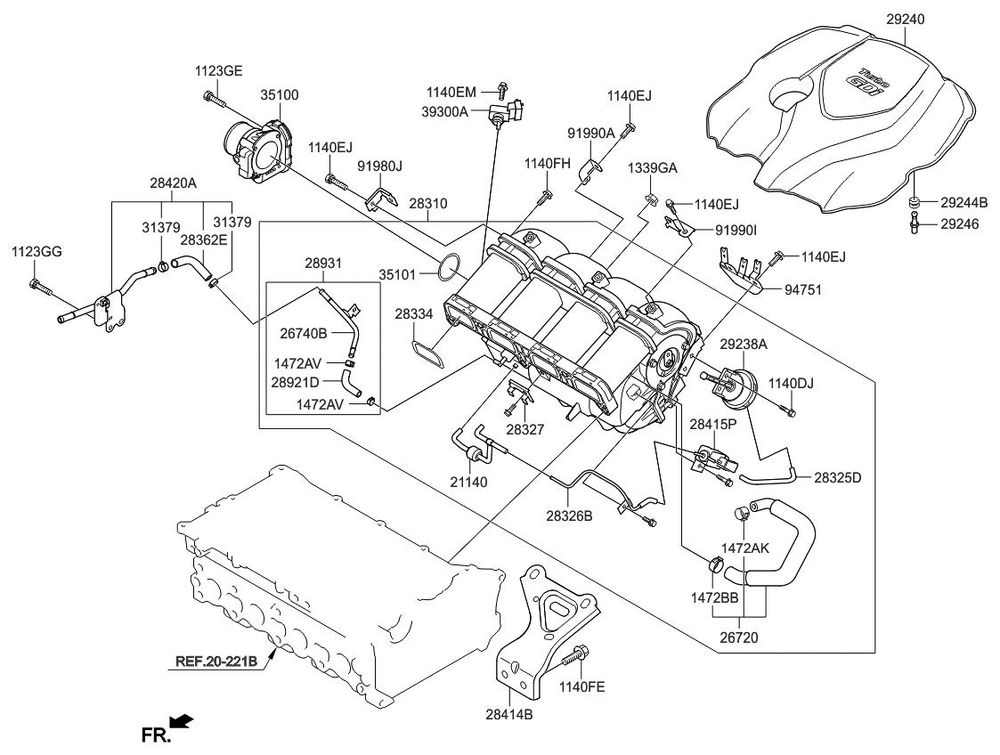 2014 Kia Sorento Intake Manifold - Thumbnail 2