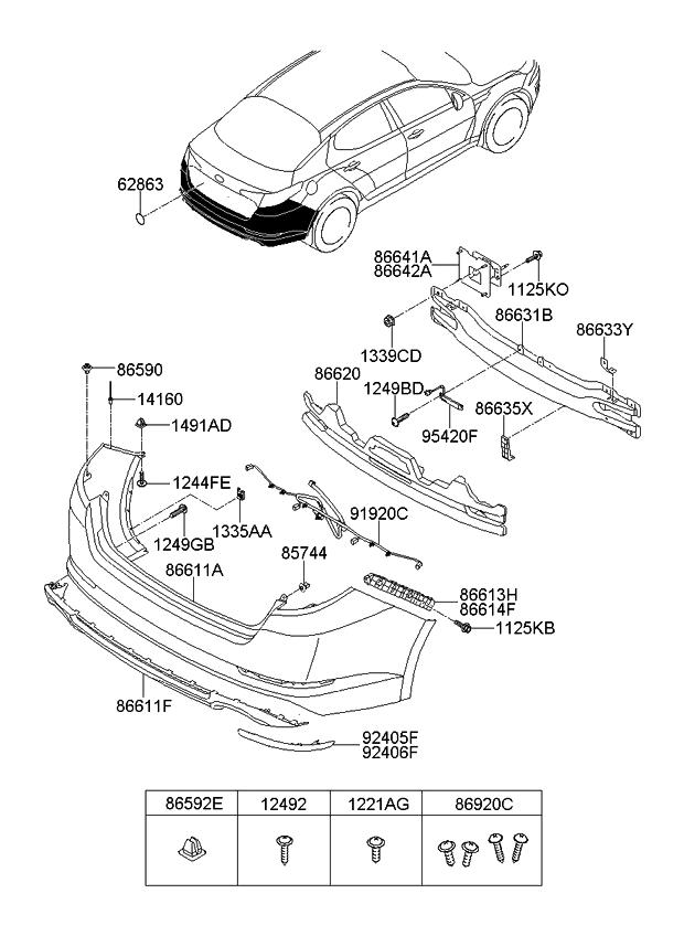 2013 kia optima korean made rear bumper kia parts now. Black Bedroom Furniture Sets. Home Design Ideas