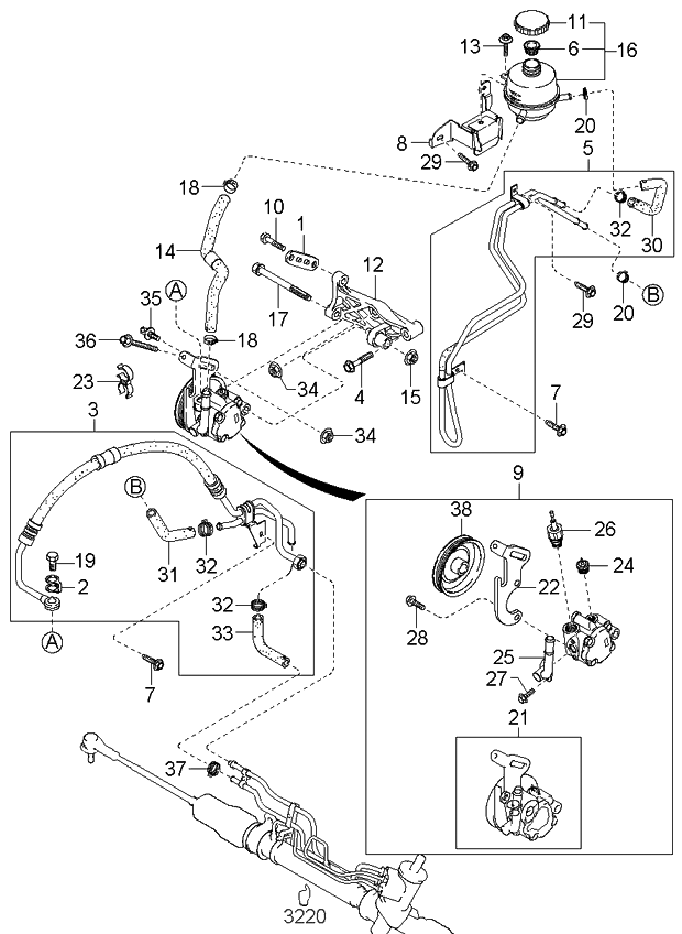 2002 kia rio power-steering-system