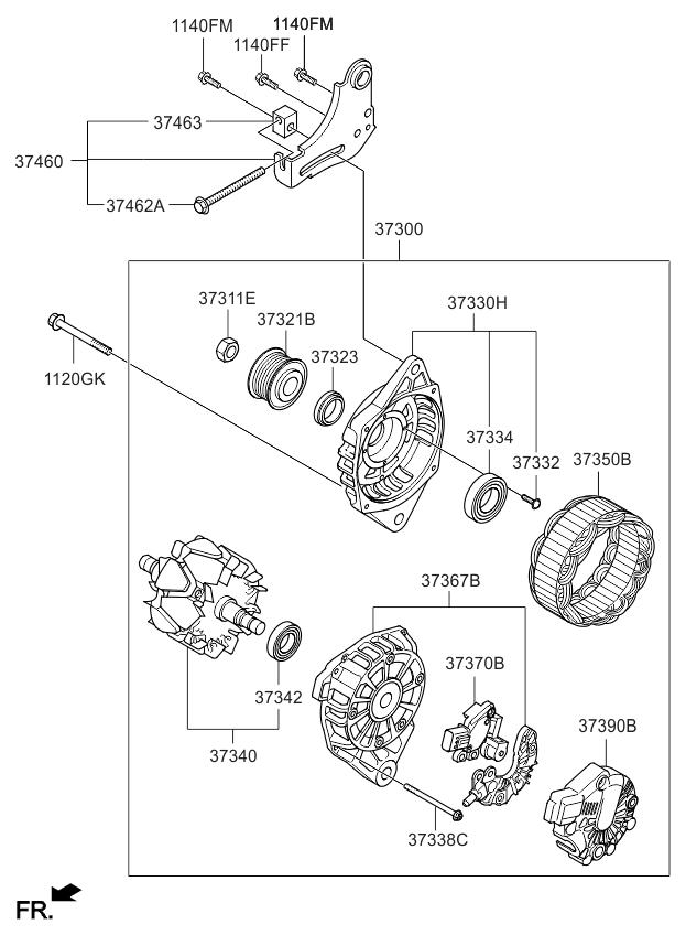 373002b760 genuine kia generator assembly rh kiapartsnow com Kia Starter 2005 kia rio alternator wiring diagram