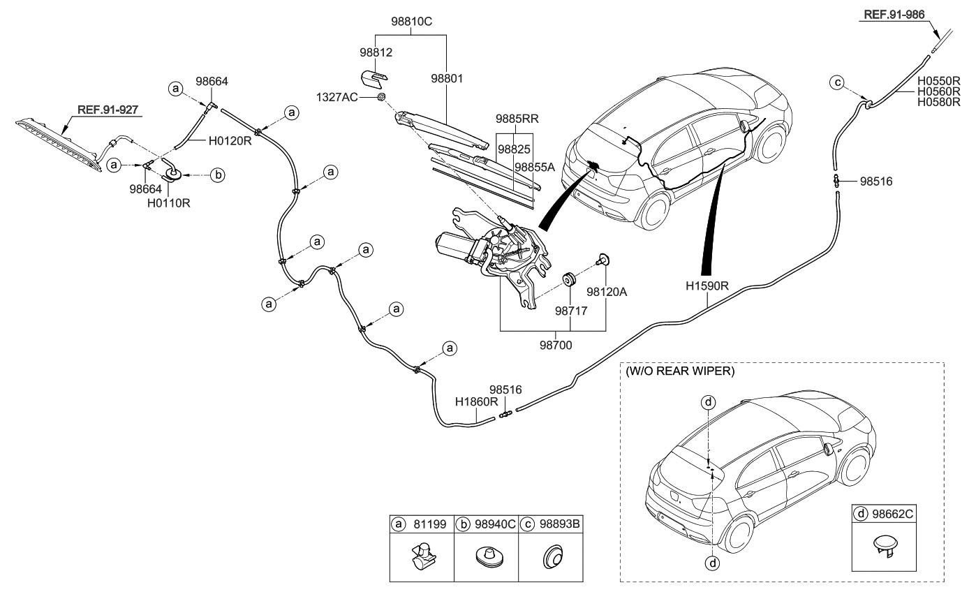 988502k000 Genuine Kia Blade Assembly Wiperrear Fuel Pump Diagram 2013 Rio Rear Wiper Washer