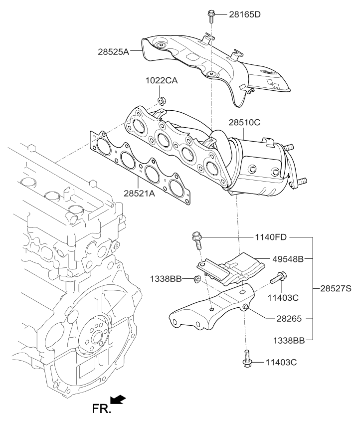 285102bef1 - genuine kia manifold catalytic a 2012 kia rio engine diagram