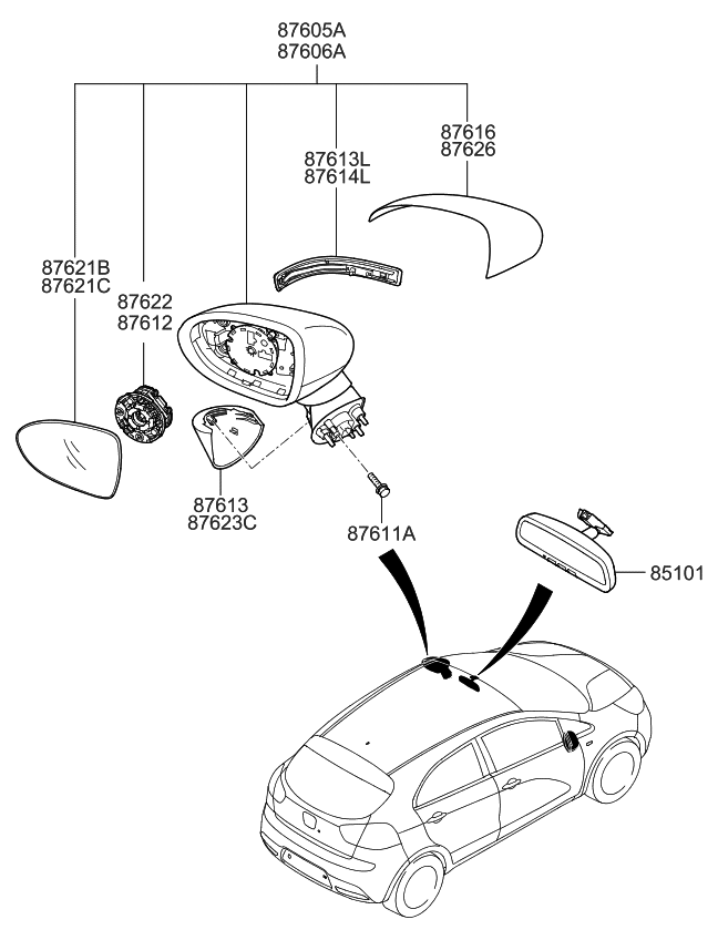 876101w151 - genuine kia mirror assembly-outside rear 2012 kia rio engine diagram 2002 kia rio engine diagram brake