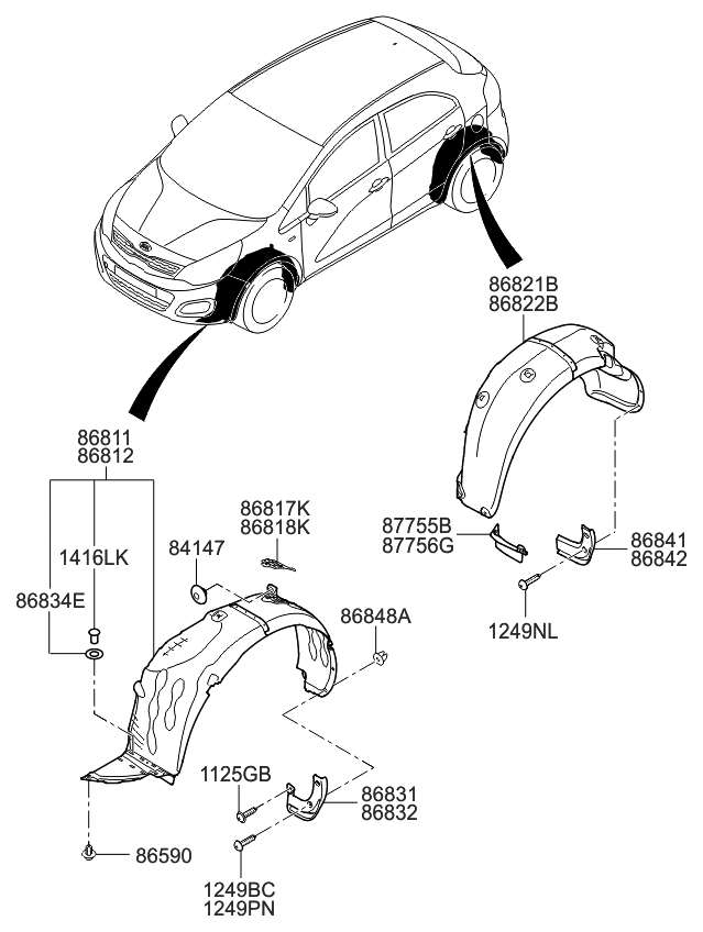 868111w001 genuine kia guard assembly front wheel rh kiapartsnow com 2005 Kia Rio Engine Diagram 2004 Kia Rio Parts Diagram