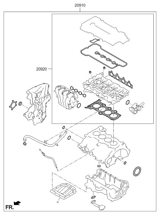 2013 kia rio engine gasket kit