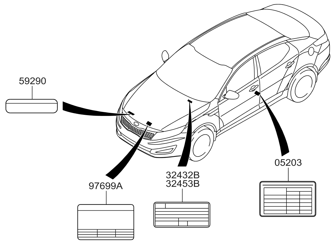 Kia 324902G900 on car diagram without labels, car diagram with titles, car drawing with labels, car parts with labels, car model with labels, motor car with labels, car diagram with parts labeled,