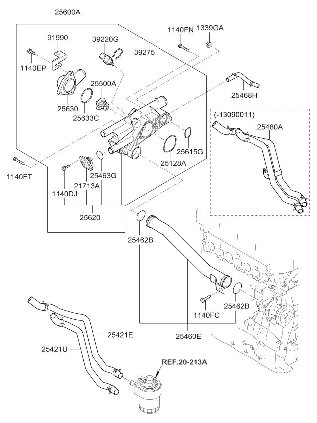 2013 Kia Optima Hybrid Coolant Pipe  U0026 Hose