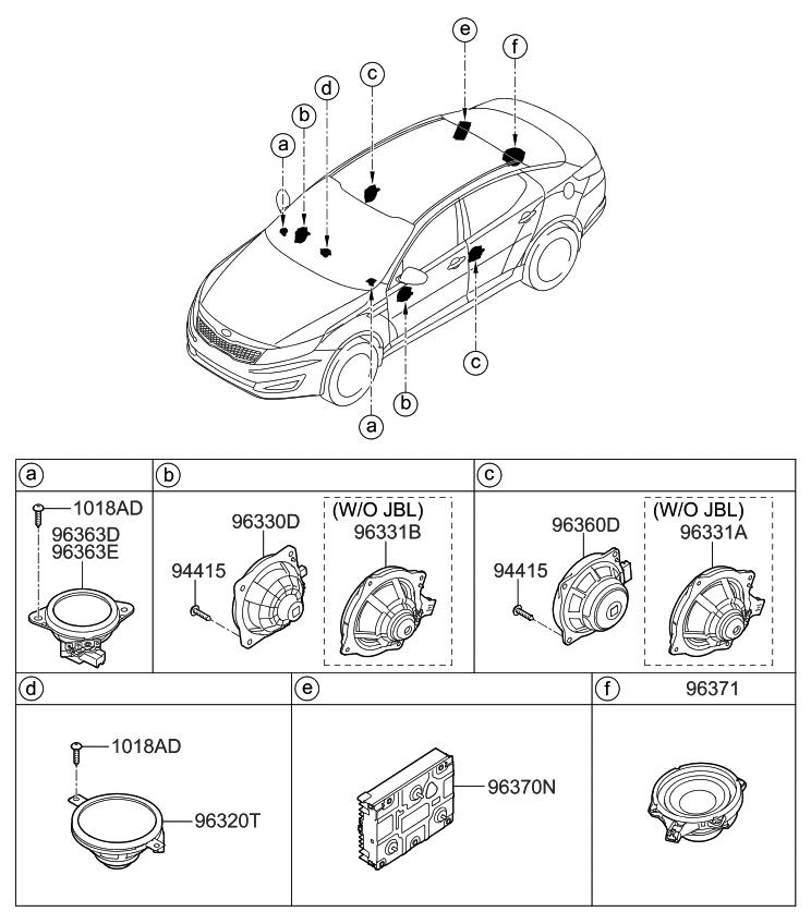 963304c000 genuine kia speaker assembly door. Black Bedroom Furniture Sets. Home Design Ideas