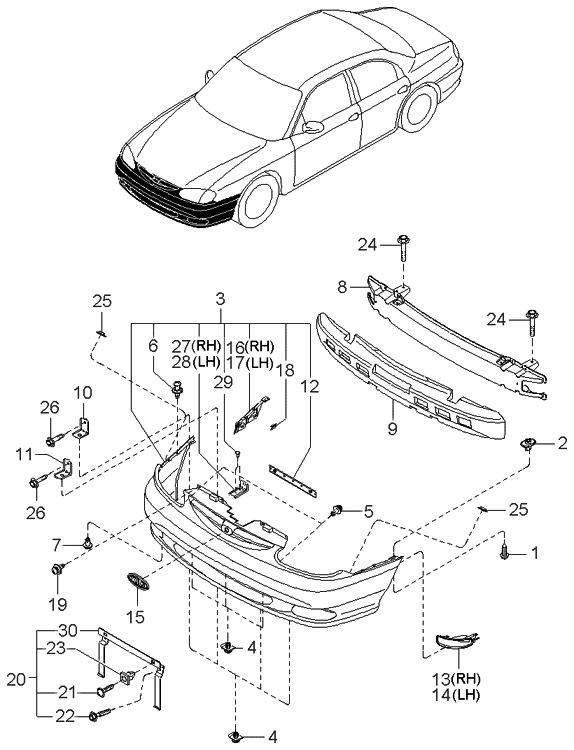 2000 Kia Sephia Bumper Front Kia Parts Now
