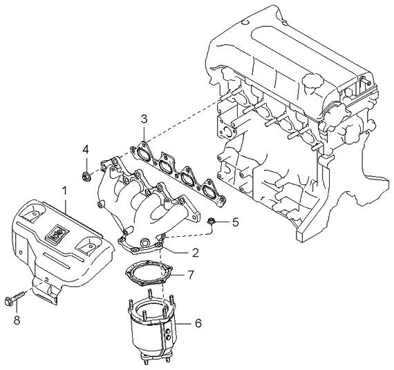 1999 kia sephia exhaust manifold