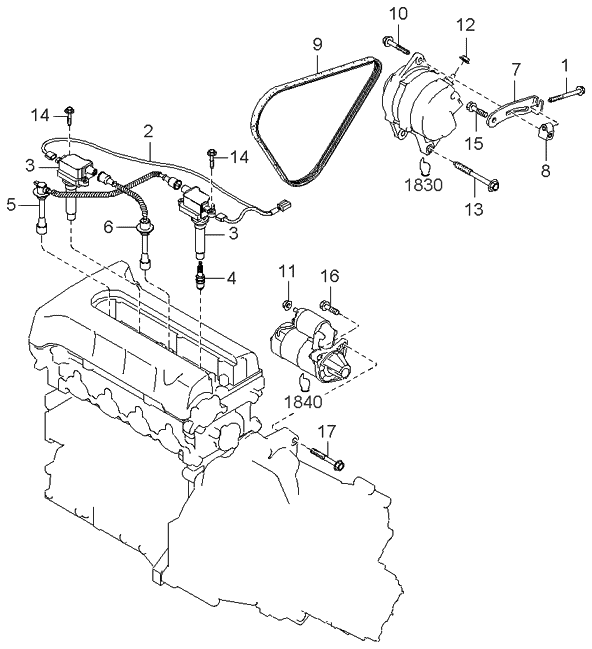 2001 Kia Sephia Engine Electrical System