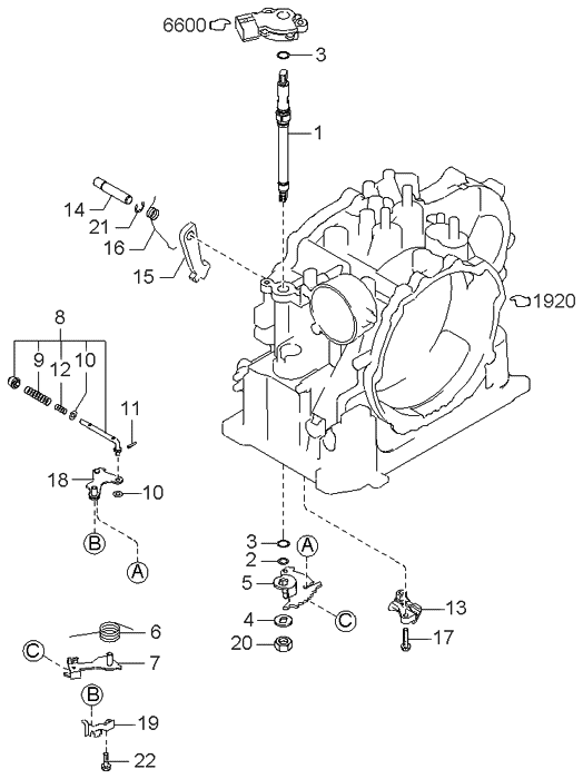 1997 Kia Sephia Manual Linkage System