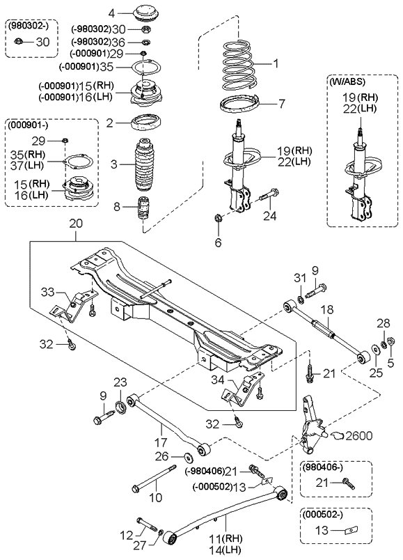 1997 Kia Sephia Rear Suspension Mechanism - Kia Parts Now
