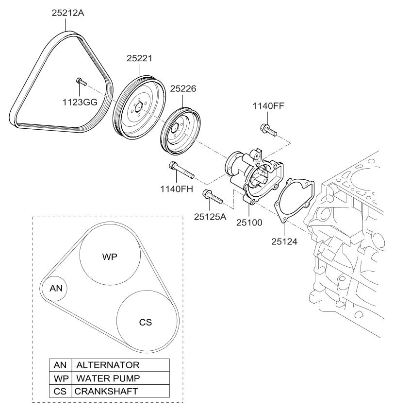 2003 kia spectra power steering pump diagram