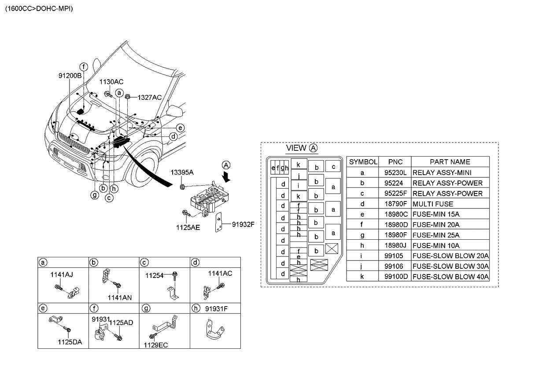 1879001031 Genuine Kia Multi Fuse 2010 Forte Engine Diagram Soul Front Wiring