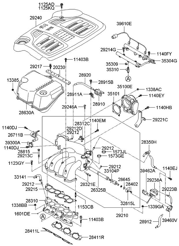 2008 kia sorento intake manifold kia parts now rh kiapartsnow com 2014 Kia Sorento Engine Diagram 2004 Kia Sorento Engine Diagram