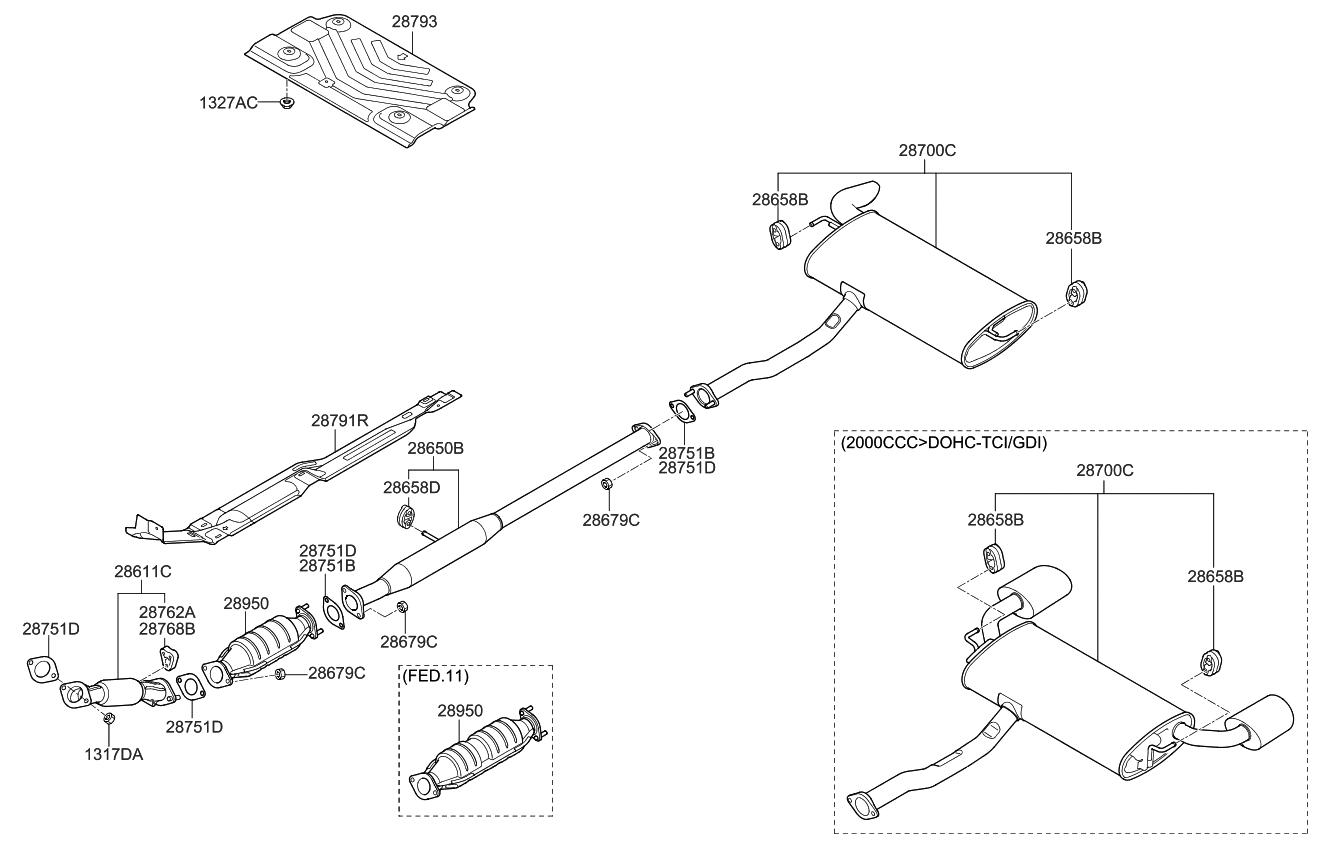 287003w100 genuine kia muffler assembly main. Black Bedroom Furniture Sets. Home Design Ideas