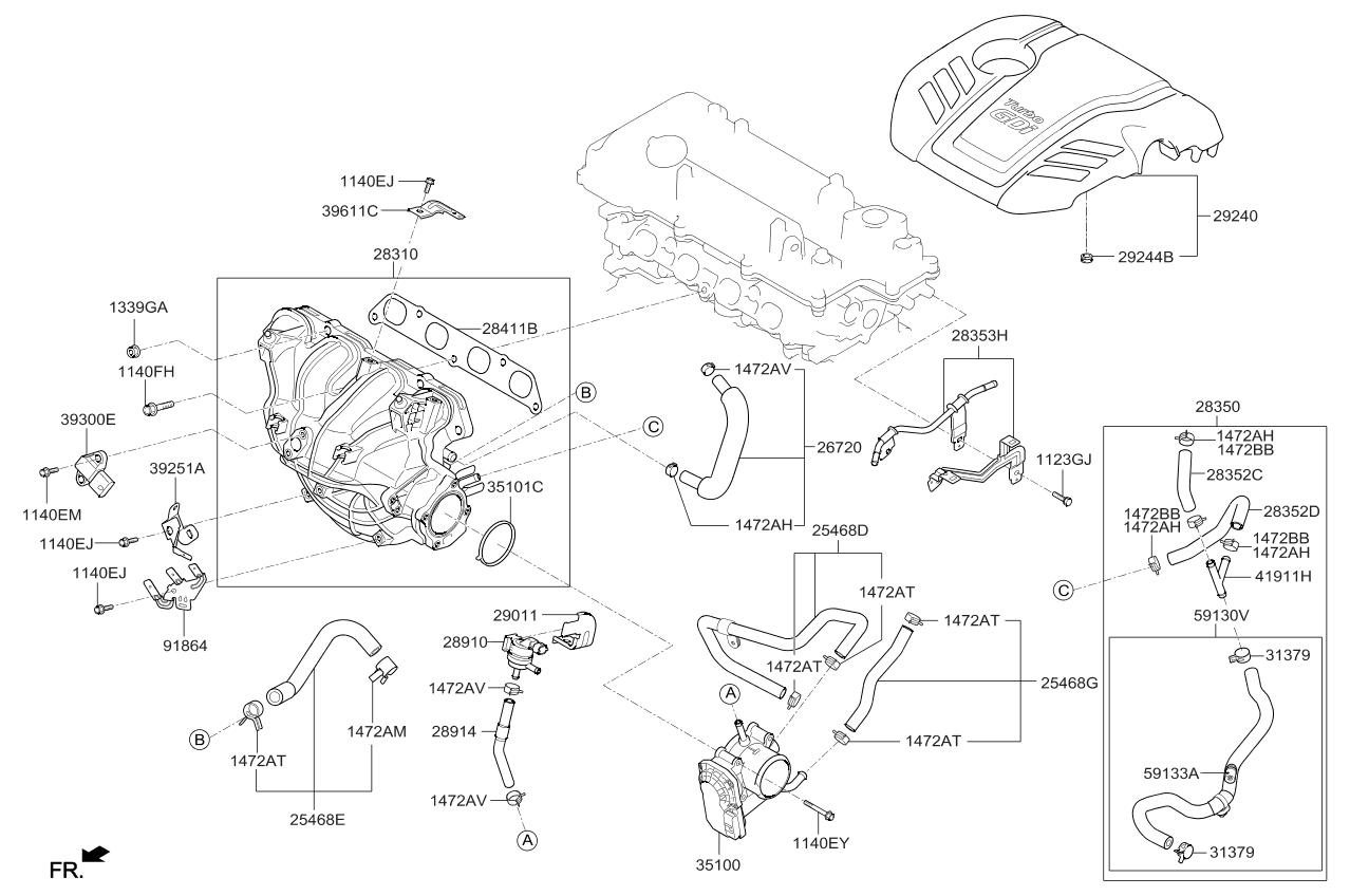 351002b320 Genuine Kia Body Assembly Throttle