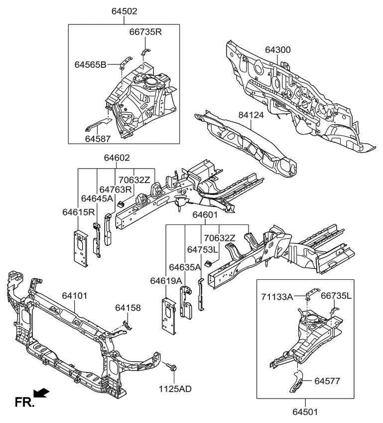2015 Kia Forte Fender Apron & Radiator Support Panel