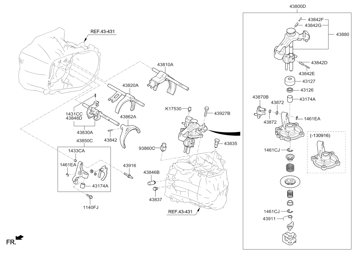 2016 Kia Forte Gear Shift Control-Manual