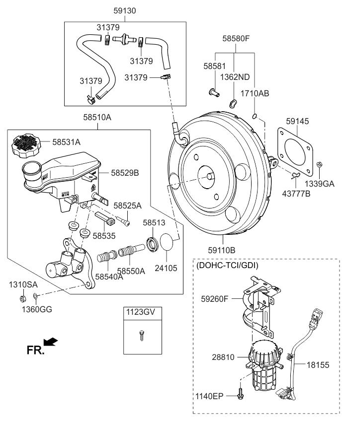 2015 Kia Forte Koup Brake Master Cylinder & Booster