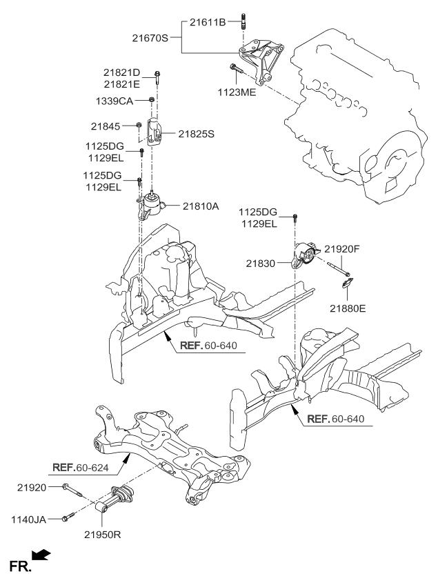 218103x000 Genuine Kia Bracket Assembly Engine