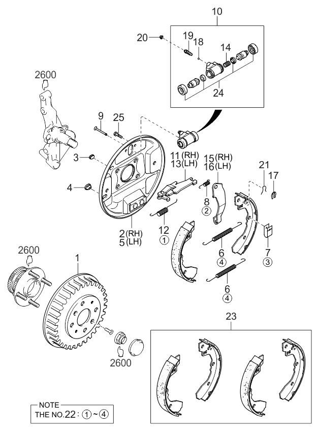 kia spectra rear brake diagram