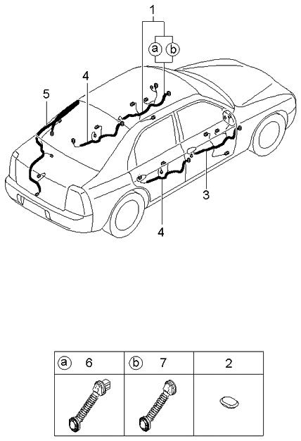 2002 kia spectra hatchback (old body style) door-wiring-harnesses