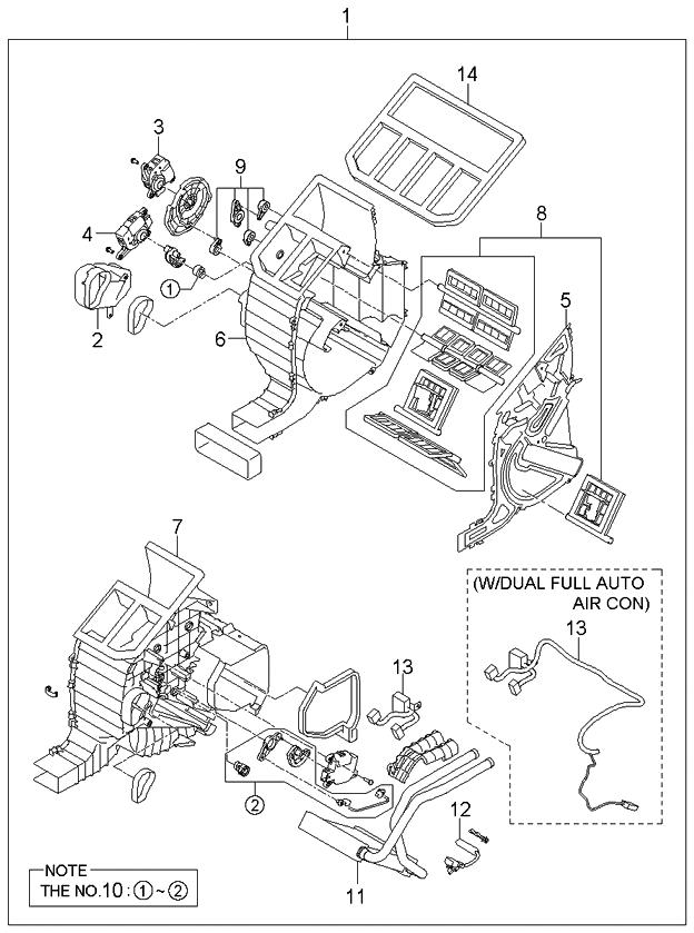 2006 kia sorento new body style (produced before sep 2006) heater system- heater unit