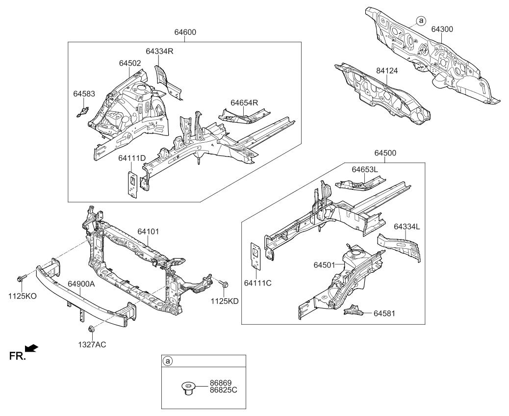 64501d5000 genuine kia panel assembly fender apron. Black Bedroom Furniture Sets. Home Design Ideas