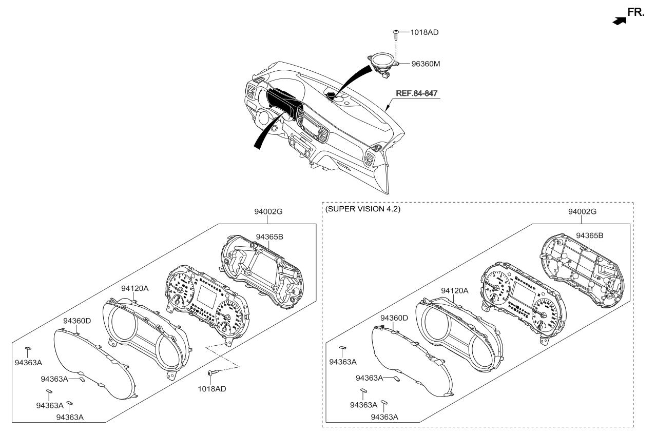 96390d9000 Genuine Kia Speaker Assembly Cluster Parts Diagram 2016 Sportage Instrument