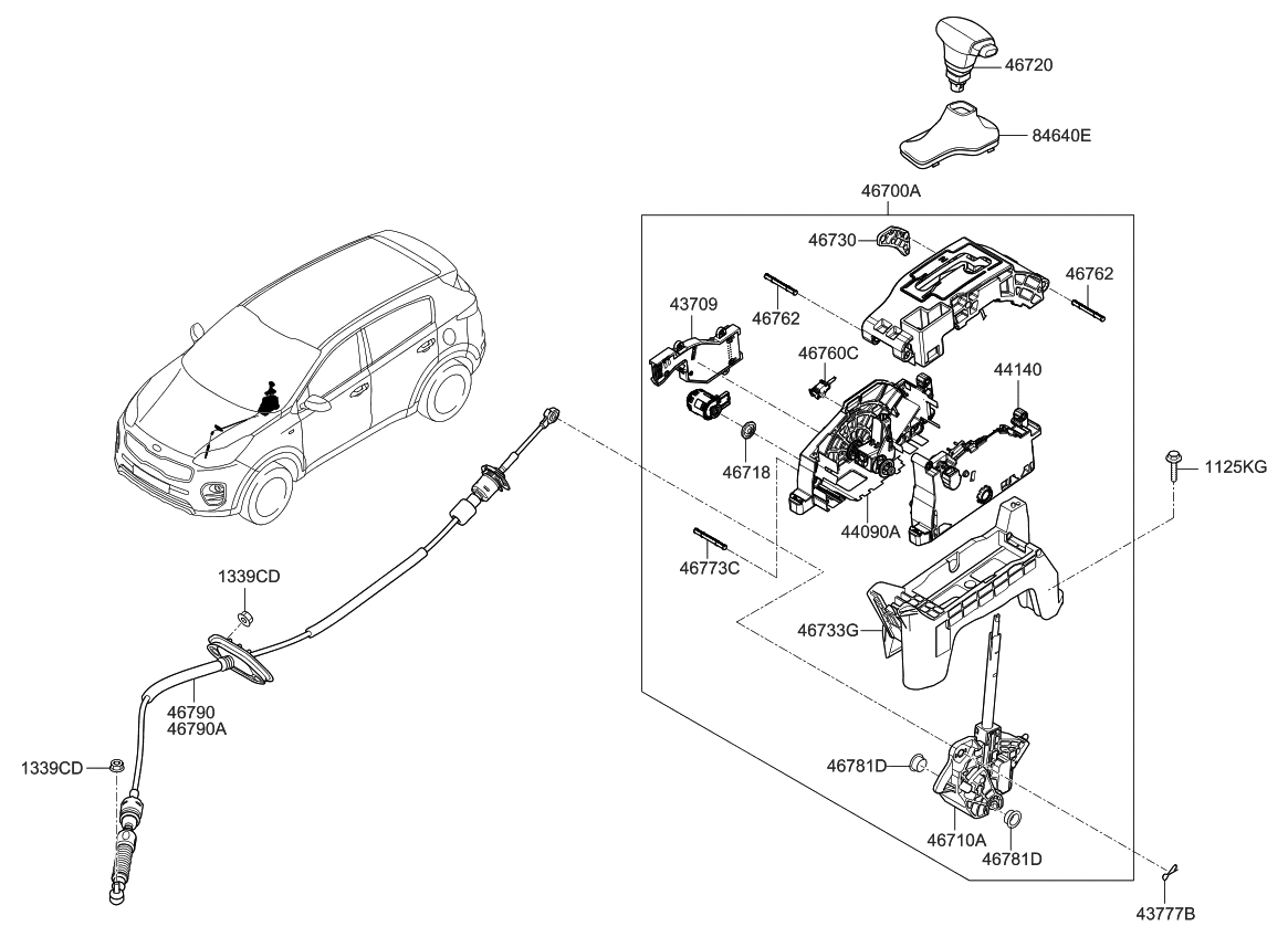 46790d9500 Genuine Kia Cable Assembly Atm Lever Parts Diagram 2018 Sportage Shift Control