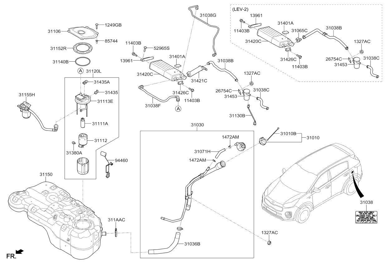 311121w000 Genuine Kia Filter Fuel Pump Diagram 2017 Sportage System
