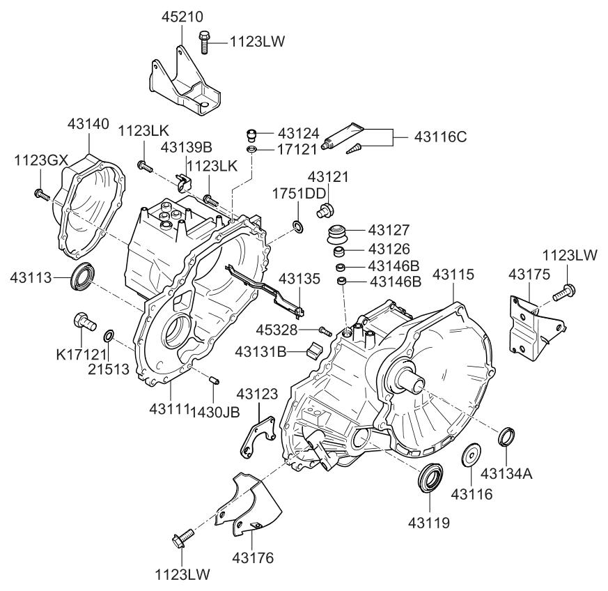 2007 Kia Spectra Transaxle Case-manual