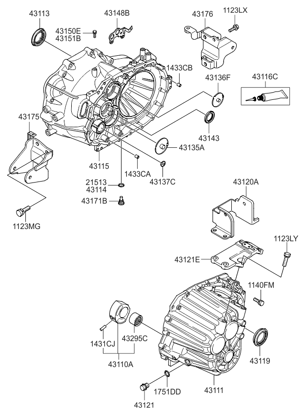 2008 Kia Optima Old Body Style Transaxle Case-Manual