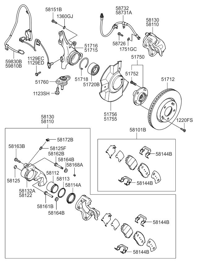 5175039603 genuine kia hub assembly front wheel 2008 Toyota RAV4 Engine Diagram 2008 kia optima old body style front axle hub wheel brake