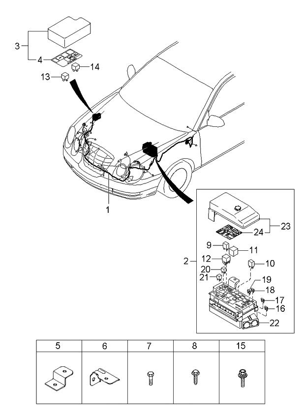 2005 Kia Amanti Wiring Harness-Front - Kia Parts Now