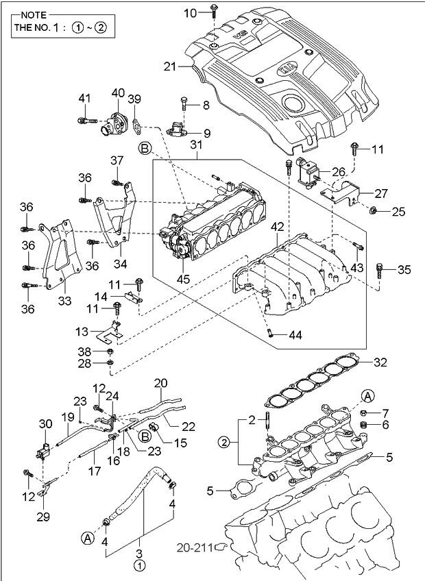 2005 kia amanti intake manifold kia parts now rh kiapartsnow com 2000 Kia Sportage Engine Diagram Kia Sedona Starter Diagram