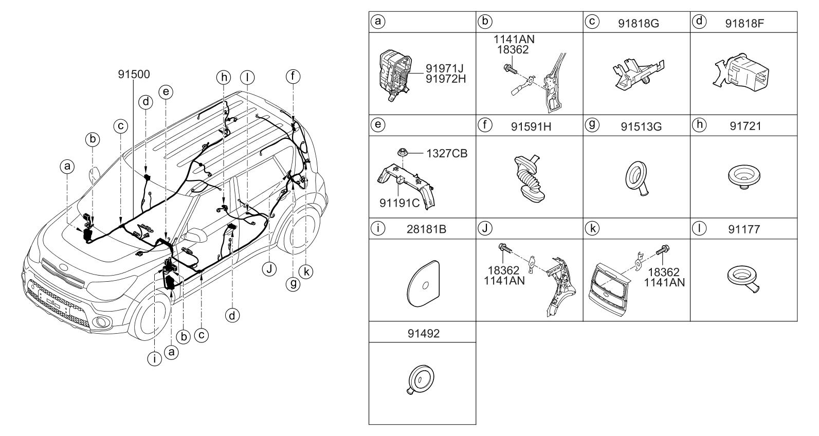 2017 kia soul wiring harness floor kia parts now  at Kia Soul Rear Wiring Harness For License Plate