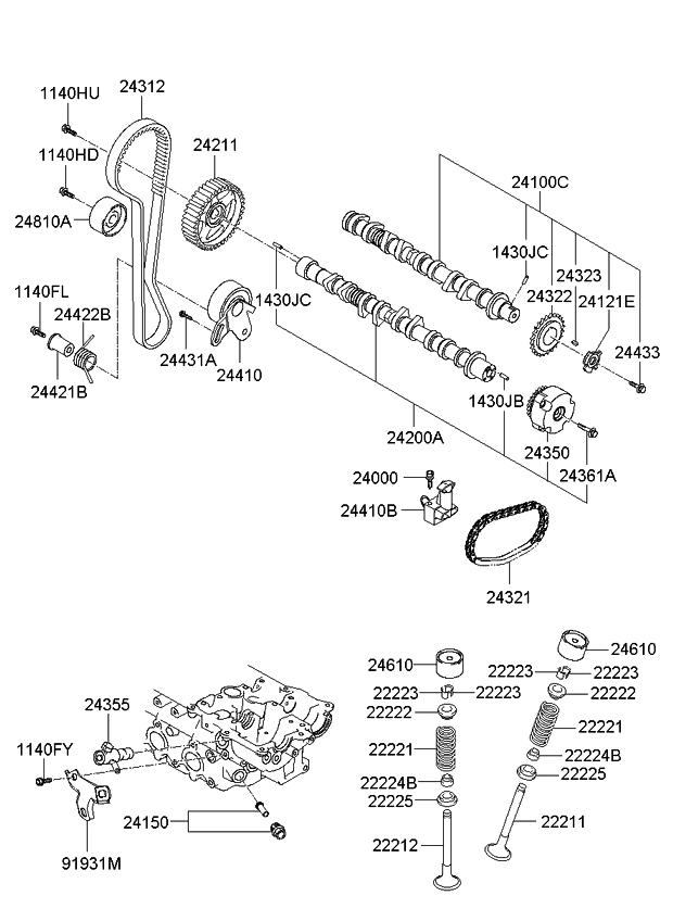 2435026800 Genuine Kia Cvvt Assembly
